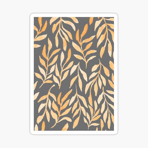 Golden Leaves on Grey Background // Nature Pattern // Simple Modern Watercolors Sticker