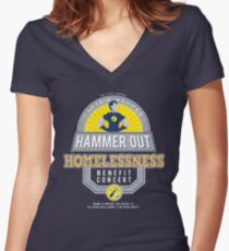 Hammer-Out Homelessness Women's Fitted V-Neck T-Shirt