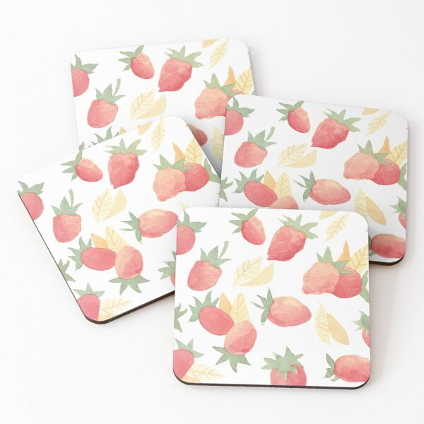 Strawberries Summer Vibe // Simple Watercolors Coasters (Set of 4)