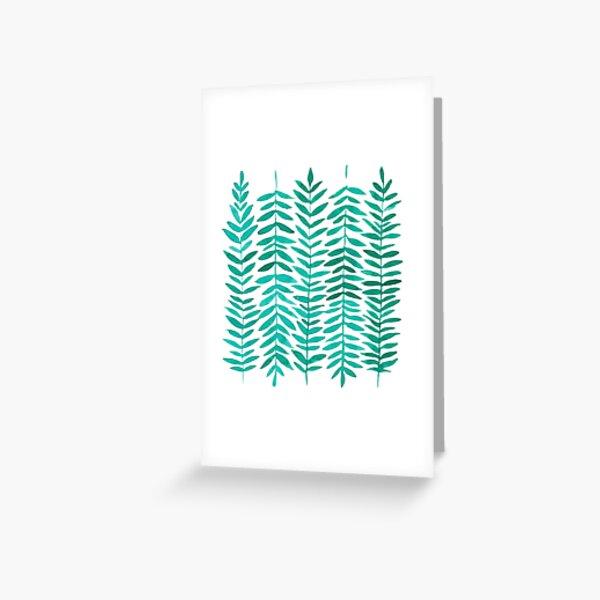 Simple Green Leaf Watercolors // Modern Pattern Greeting Card