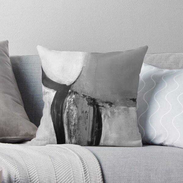Black white gray abstract Throw Pillow
