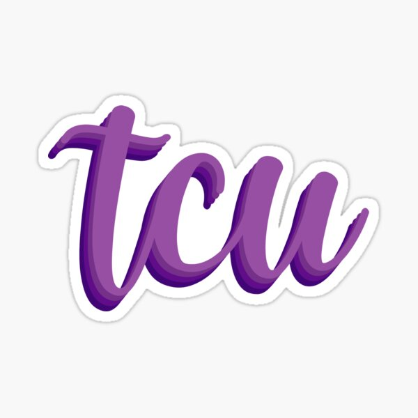 TCU Cursive Lettering Sticker