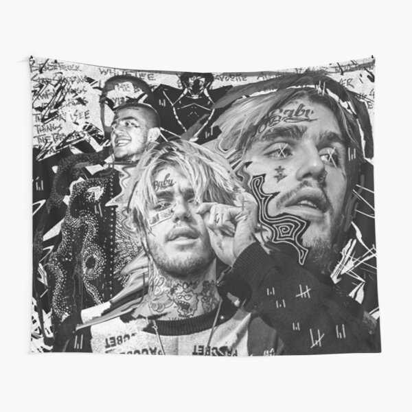 Lil peep Black and white dark proffessional photo design Tapestry