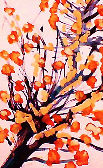 Cherry Blossoms, watercolor by Anna  Lewis, blind artist