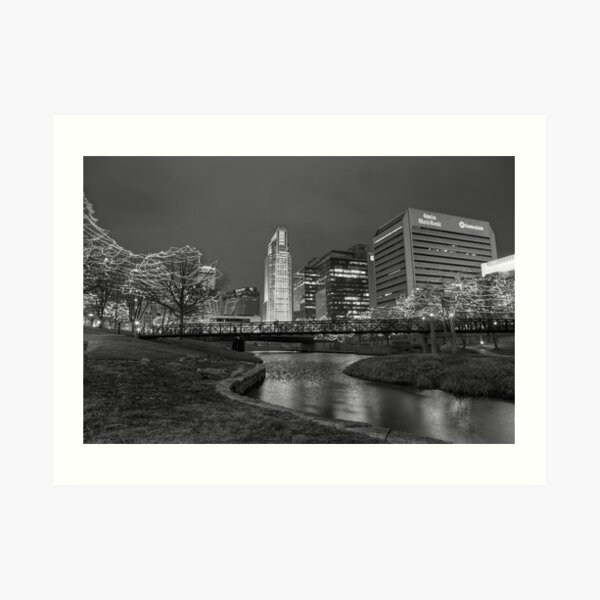 Omaha Skyline in Black and White Art Print