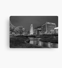 Omaha Skyline in Black and White Canvas Print