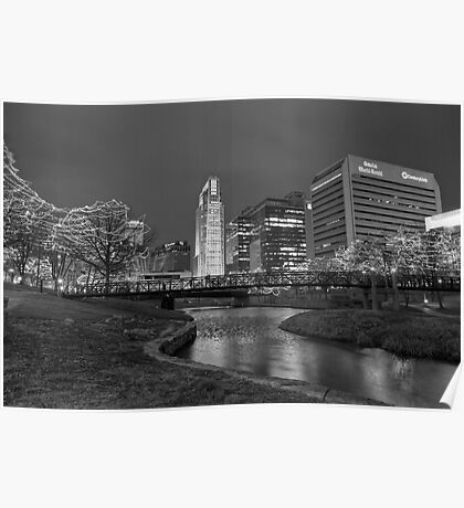 Omaha Skyline in Black and White Poster