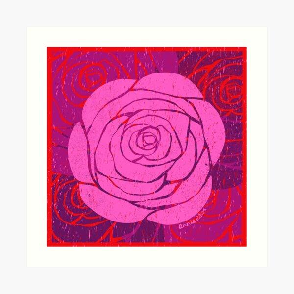 Rose Woodblock Print Art Print