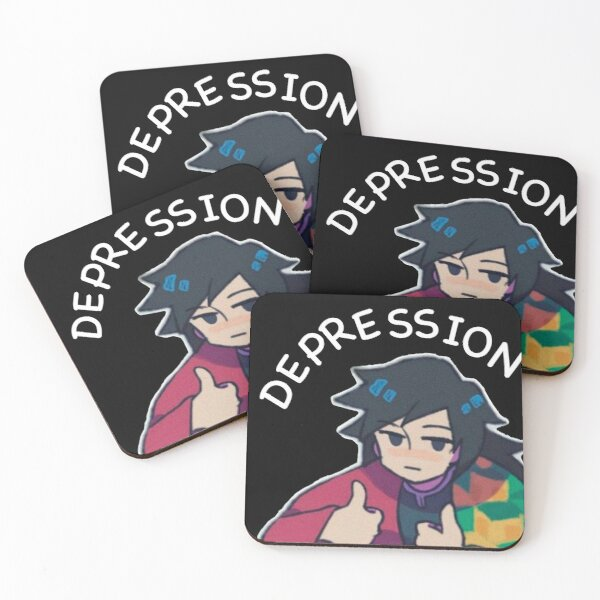 Fight against depression black background Coasters (Set of 4)
