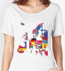 Europe map flags Women's Relaxed Fit T-Shirt