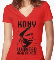 KONY, Wanted Dead or Alive Women's Fitted V-Neck T-Shirt