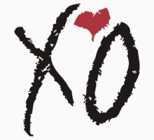 Black XO Red Heart