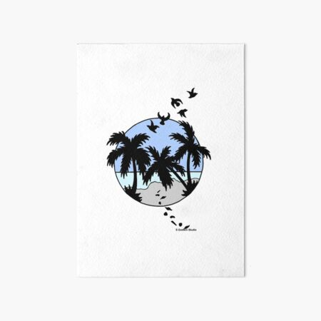 Palm Trees, Birds and Blue Sunset Art Board Print