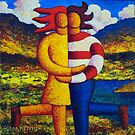 The lovers in landscape  ,impasto by Alan Kenny