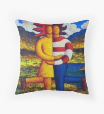 The lovers in landscape  ,impasto Throw Pillow