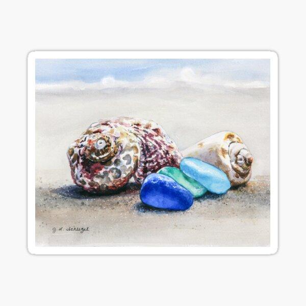 Seashells and Sea Glass on the Beach Sticker