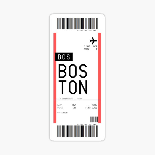 Boston Boarding Pass Sticker