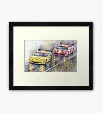 Le Mans 2011 GTE Pro Chevrolette Corvette C6R vs Ferrari 458 Italia Framed Print