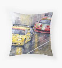 Le Mans 2011 GTE Pro Chevrolette Corvette C6R vs Ferrari 458 Italia Throw Pillow