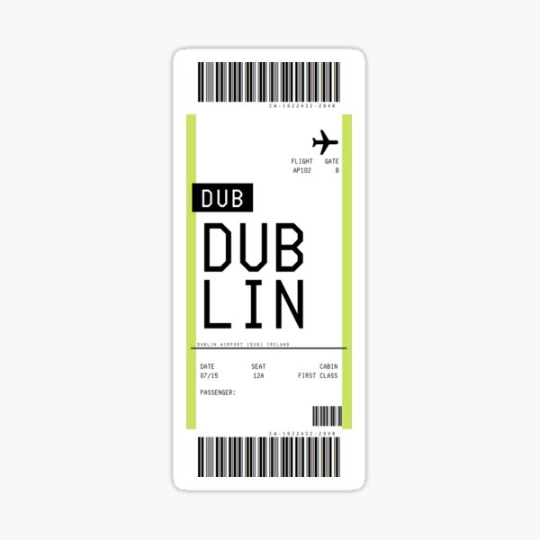 Dublin Boarding Pass Sticker