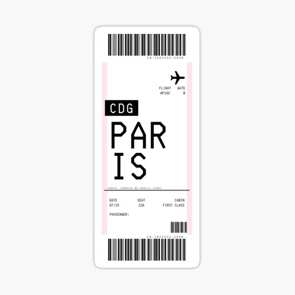Paris Boarding Pass Sticker