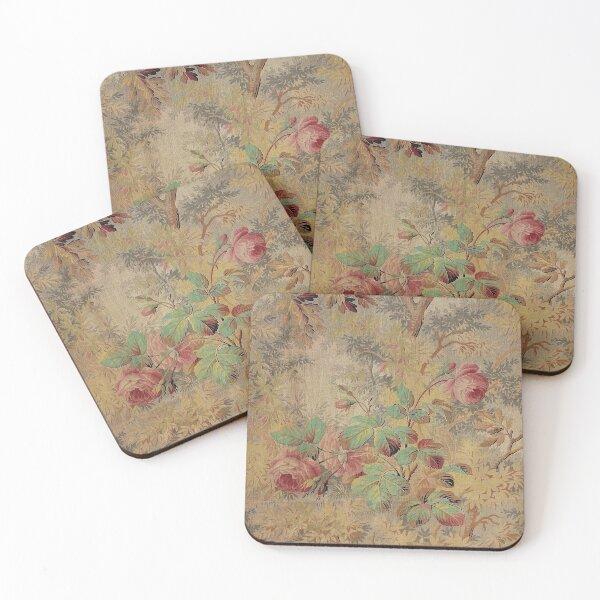 Antique Rose Floral  Coasters (Set of 4)