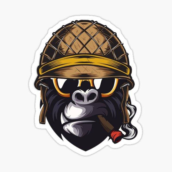 Cooler Helm rauchender Gorilla Sticker