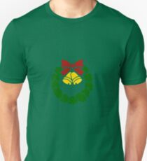 Vintage Christmas Wreath with Ribbon and Bells T-Shirt