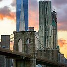 Fall Sunset Downtown New York by Randy  LeMoine