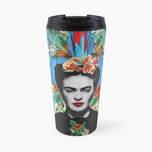Frida Kahlo colourful feathers Travel Mug