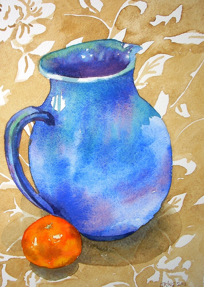 """Water colour Still Life painting, Blue Jug"" by Emily King ..."