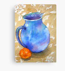 Water colour Still Life painting, Blue Jug Metal Print