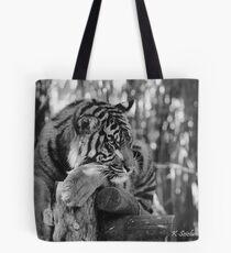 tiger portrait b/w 3 Tote Bag