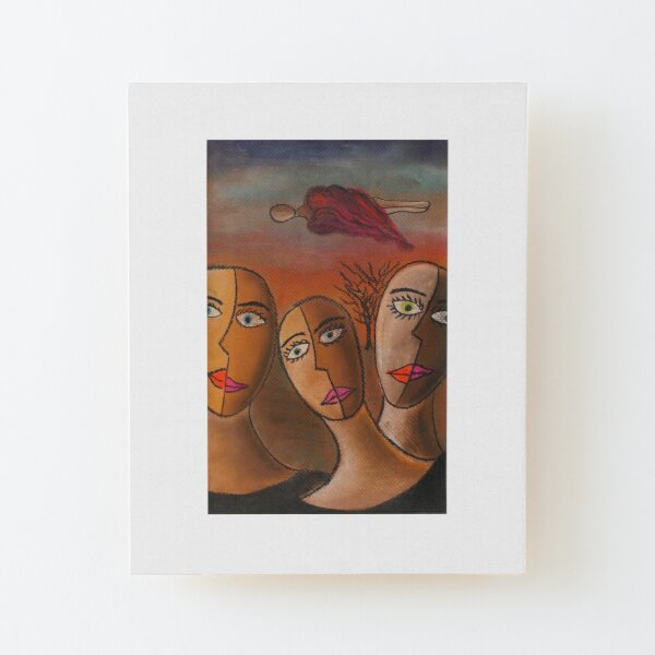 Three Sisters Dream | Pastel on Paper | Anything Box Peace Era Study for a Single Wood Mounted Print
