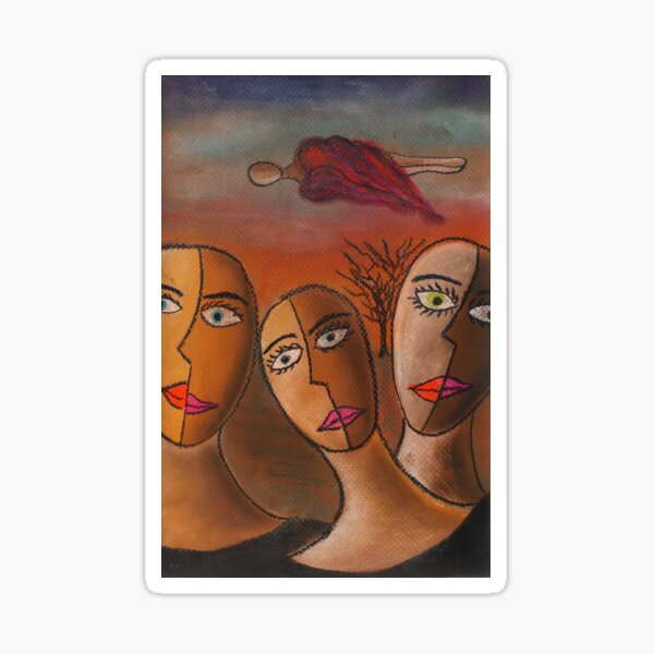 Three Sisters Dream | Pastel on Paper | Anything Box Peace Era Study for a Single Sticker