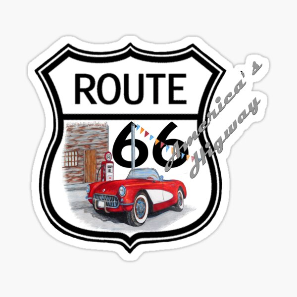 Route 66 vintage stylist america highway gifts Sticker