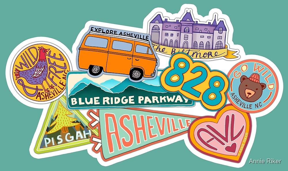 Asheville Sticker Collection by Annie Riker