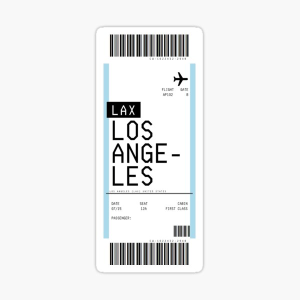 Los Angeles Boarding Pass Sticker