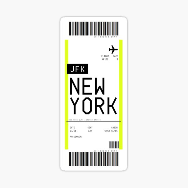 New York Boarding Pass Sticker