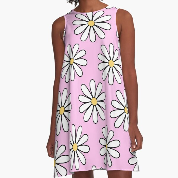 White Daisies with Pink A-Line Dress