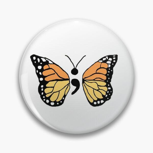 Semicolon Monarch Butterfly Pin