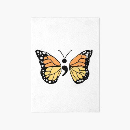 Semicolon Monarch Butterfly Art Board Print