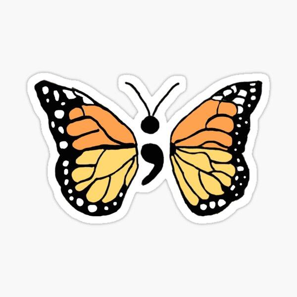 Semicolon Monarch Butterfly Sticker