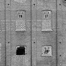 Brick Wall Broken Windows BW by Bo Insogna