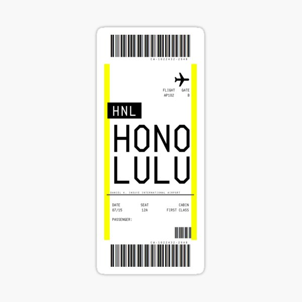 Carte d'embarquement d'Honolulu Sticker