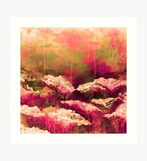 ITS A ROSE COLORED LIFE Floral Hot Pink Marsala Olive Green Flowers Abstract Acrylic Painting Fine Art Art Print