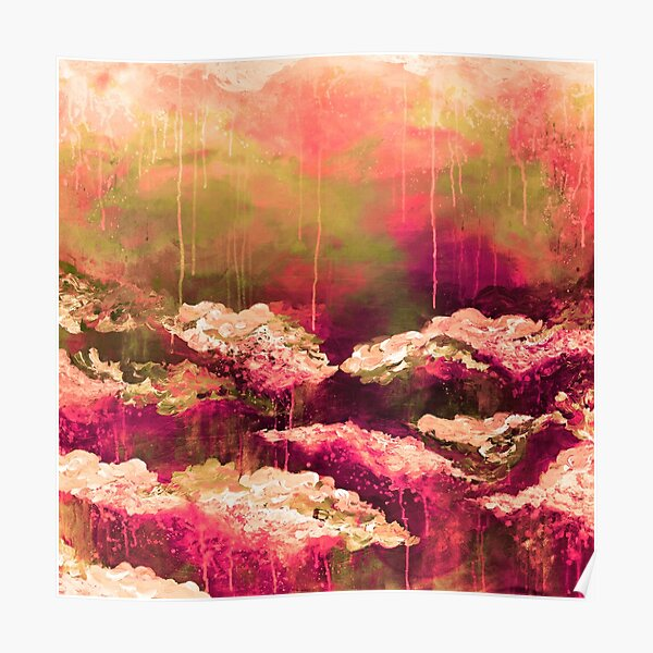 ITS A ROSE COLORED LIFE Floral Hot Pink Marsala Olive Green Flowers Abstract Acrylic Painting Fine Art Poster