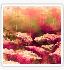 ITS A ROSE COLORED LIFE Floral Hot Pink Marsala Olive Green Flowers Abstract Acrylic Painting Fine Art Sticker