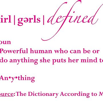 Girls Defined Magenta Text by EmpowermentTree
