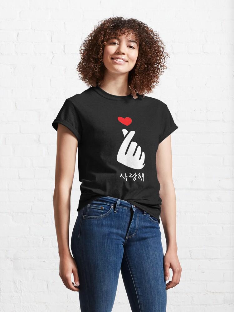 Alternate view of Saranghae K-Pop Kdrama Finger Heart Korean Love Classic T-Shirt